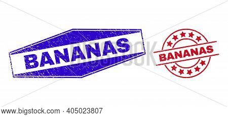 Bananas Stamps. Red Round And Blue Extended Hexagon Bananas Stamps. Flat Vector Grunge Seals With Ba