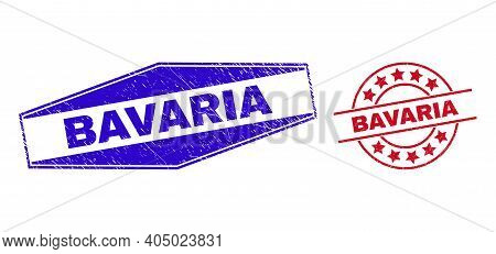 Bavaria Stamps. Red Round And Blue Stretched Hexagon Bavaria Stamps. Flat Vector Grunge Seal Stamps