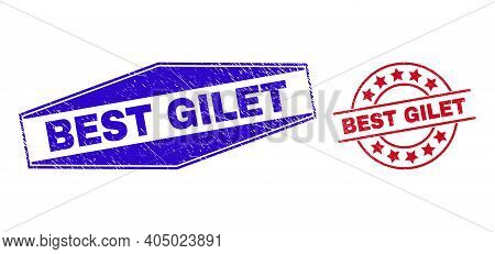 Best Gilet Badges. Red Round And Blue Squeezed Hexagonal Best Gilet Seal Stamps. Flat Vector Distres