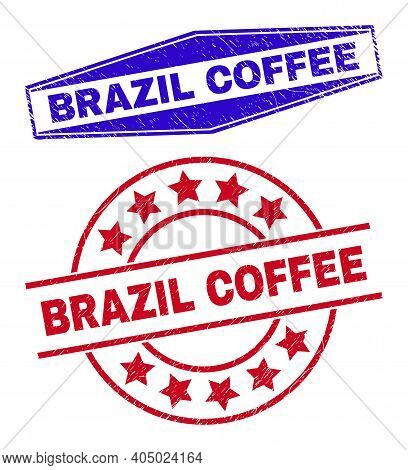 Brazil Coffee Stamps. Red Rounded And Blue Compressed Hexagon Brazil Coffee Seal Stamps. Flat Vector