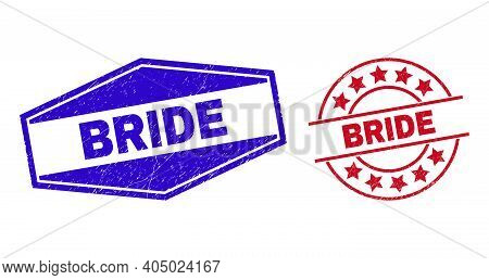 Bride Stamps. Red Rounded And Blue Flattened Hexagonal Bride Watermarks. Flat Vector Grunge Watermar