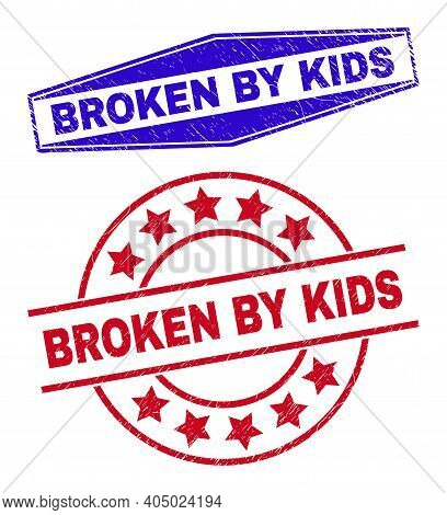 Broken By Kids Stamps. Red Round And Blue Expanded Hexagonal Broken By Kids Rubber Imprints. Flat Ve