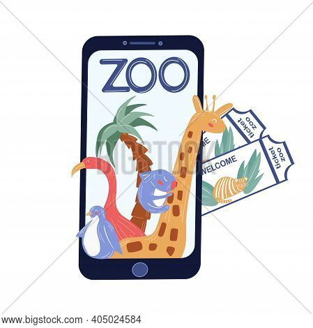 A Concept For A Zoo. Purchase Tickets In Your Mobile Phone. Online Zoo. For Advertising, Banners, Po
