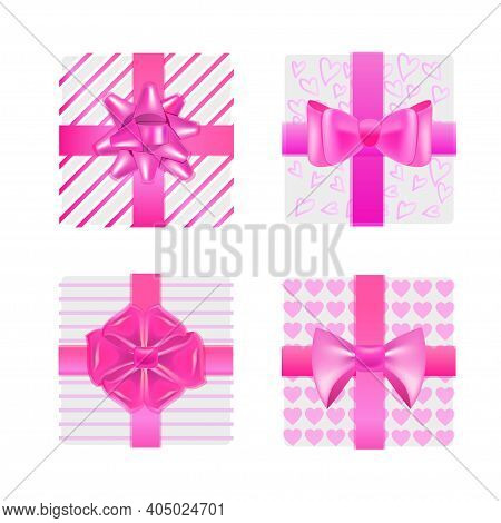 Set Pink Wrapped Gift Boxes With Bows Valentines Day Celebration Concept Vector Illustration