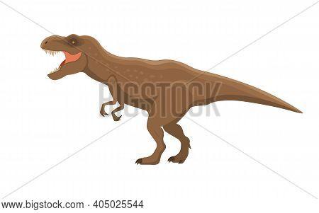 Dinosaur T Rex. Vector Illustration Of A Large Prehistoric Tyrannosaurus T Rex Isolated On A White B