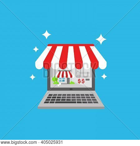 Online Shop Store On Laptop Or Personal Computer Pc Flat Illustration