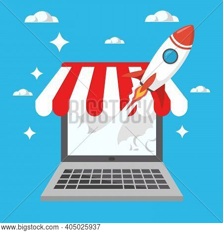 Rocket Launch From Laptop Online Shop Or Store Represent As High Success Growing Business Or Start U