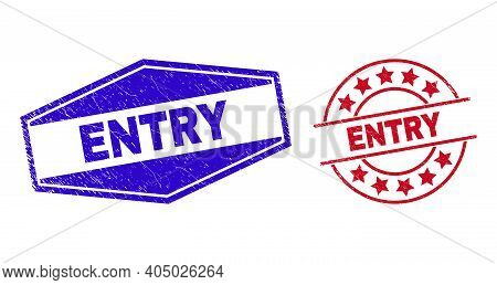 Entry Stamps. Red Round And Blue Flattened Hexagon Entry Seal Stamps. Flat Vector Textured Seal Stam