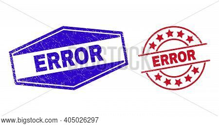 Error Badges. Red Round And Blue Expanded Hexagon Error Seals. Flat Vector Distress Seals With Error