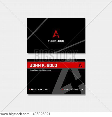 Red Black Bold Style Business Visit Card Name Card Design For Modern Serious Optimistic Energetic Se