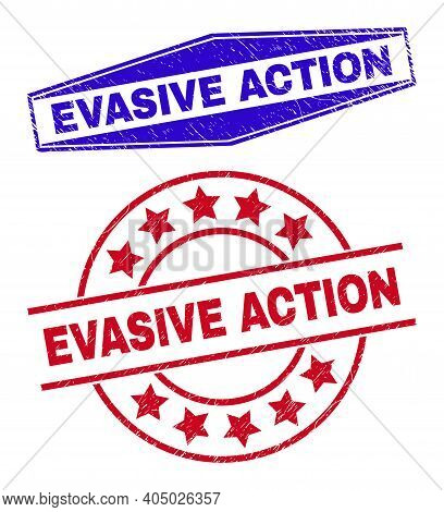 Evasive Action Stamps. Red Rounded And Blue Expanded Hexagon Evasive Action Stamps. Flat Vector Scra