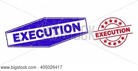 Execution Stamps. Red Circle And Blue Flatten Hexagonal Execution Seal Stamps. Flat Vector Grunge Se