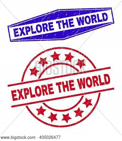 Explore The World Stamps. Red Rounded And Blue Squeezed Hexagonal Explore The World Watermarks. Flat