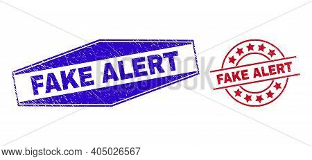 Fake Alert Stamps. Red Round And Blue Stretched Hexagonal Fake Alert Seal Stamps. Flat Vector Scratc