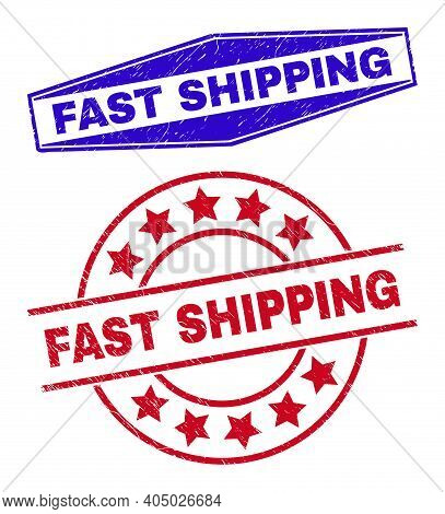 Fast Shipping Stamps. Red Round And Blue Flattened Hexagon Fast Shipping Seals. Flat Vector Grunge S