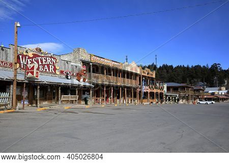 Cloudcroft Town, Otero County, New Mexico Usa - Dec 25, 2020: The Historical Old Town Along Us Hwy 8