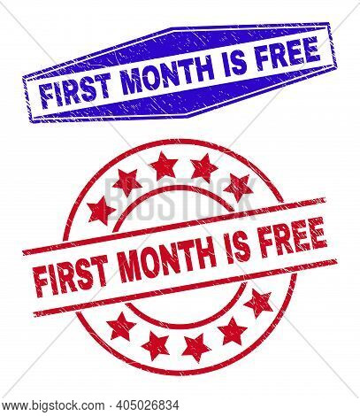 First Month Is Free Stamps. Red Circle And Blue Flatten Hexagon First Month Is Free Seals. Flat Vect