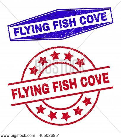 Flying Fish Cove Badges. Red Round And Blue Stretched Hexagonal Flying Fish Cove Stamps. Flat Vector