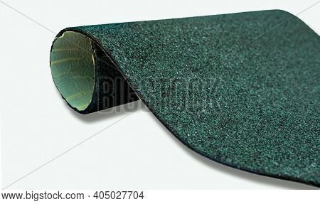 Selective Focus On Hunter Green Color Shingle Roof On White Background. Roofing Material. Shingle Ro