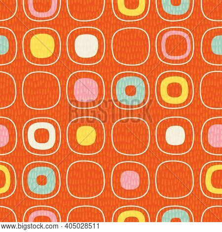 Abstract Seamless Pattern Of Rounded Squares With Random Details. Mid Century Modern Scandinavian St