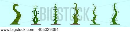 Set Of Beanstalk Cartoon Icon Design Template With Various Models. Modern Vector Illustration Isolat