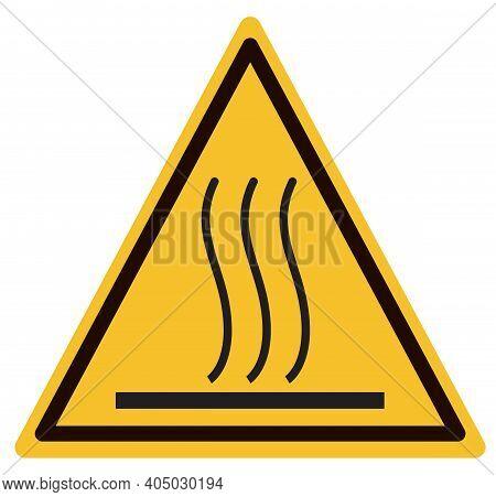 Hot Surface Warning Sign. Beware Hot Symbol. Caution Hot Surface Icon On White Background. Flat Styl