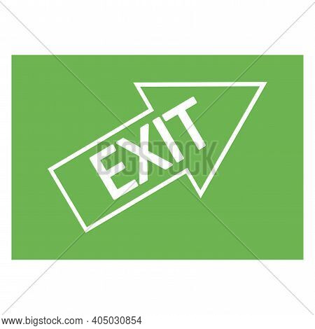 Green Fire Exit Sign. Exit Up To The Right. Arrow On A Green Background. Stock Image. Eps 10.