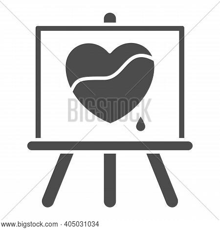 Painted Heart On Canvas Solid Icon, Valentines Day Concept, Wood Easel Sign On White Background, Can