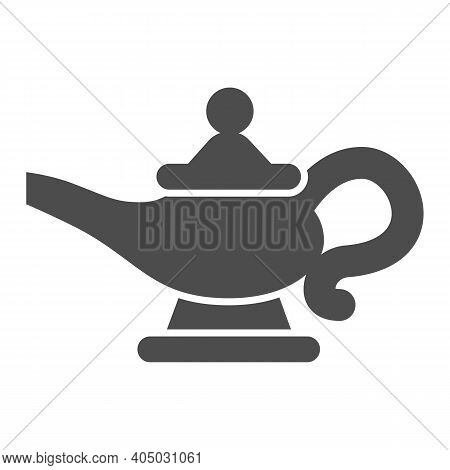 Magic Lamp Solid Icon, Fairytale Concept, Genie Lamp Sign On White Background, Watering Can With Oil