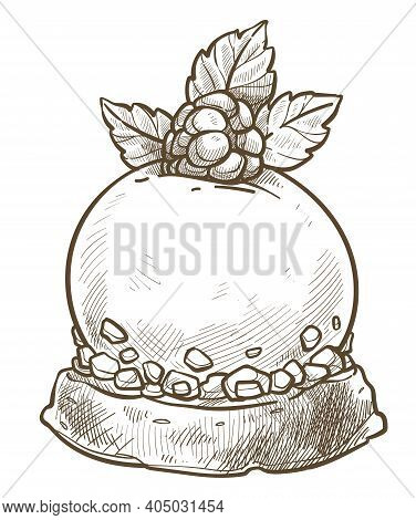 Sweet Pudding With Raspberry And Mint Leaf Sketch