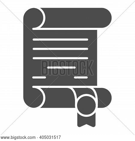 Antique Scroll With Ribbon Solid Icon, Fairytale Concept, Royal Decree Sign On White Background, Anc