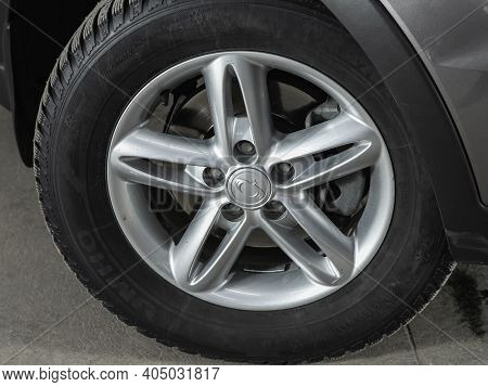 Novosibirsk, Russia - January 14 2021:  Ssangyong Actyon, Close-up Of The Alloy Wheel. Photography O
