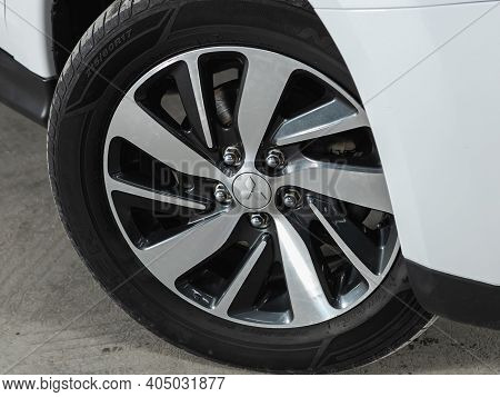 Novosibirsk, Russia - January 14 2021:  Mitsubishi Asx, Close-up Of The Alloy Wheel. Photography Of