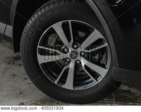 Novosibirsk, Russia - January 14 2021:  Toyota Rav-4, Close-up Of The Alloy Wheel. Photography Of A