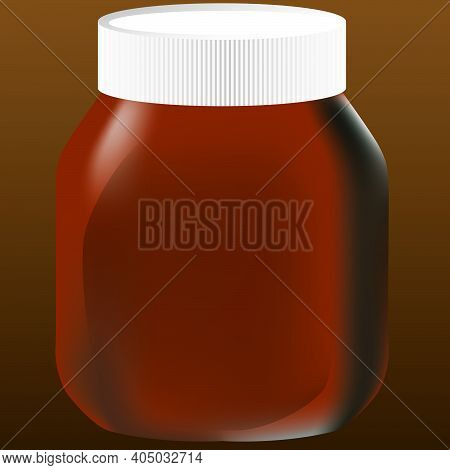 A Glass Jar With Chocolate Paste Closed With A White Plastic Lid