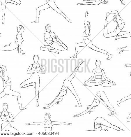 Yoga Asanas In Seamless Pattern. Women Practicing Yoga Asanas Design For Backgrounds And Wallpapers.