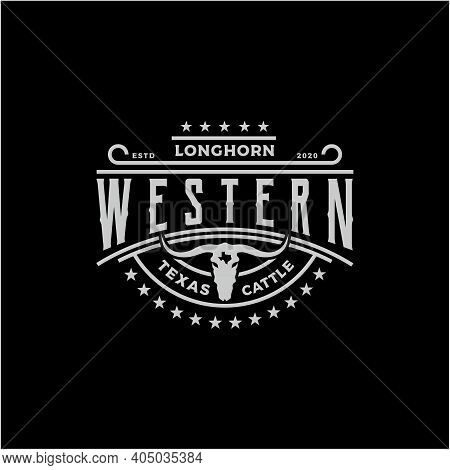 Texas Longhorn, Country Western Bull Cattle Vintage Western Label Typography Logo Design