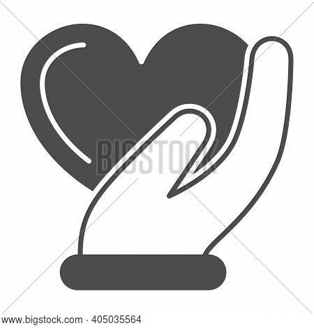 Heart In Gentle Hand Solid Icon, Valentines Day Concept, Heart Care Sign On White Background, Palm H