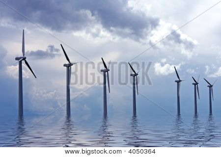Windturbines Along The Ijsselmeer In The Netherlands