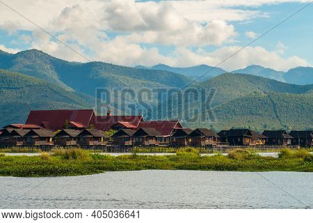 Rows Of Wooden Resort House Located At The Shore Of Inle Lake The Second Largest Lake In Myanmar Wit