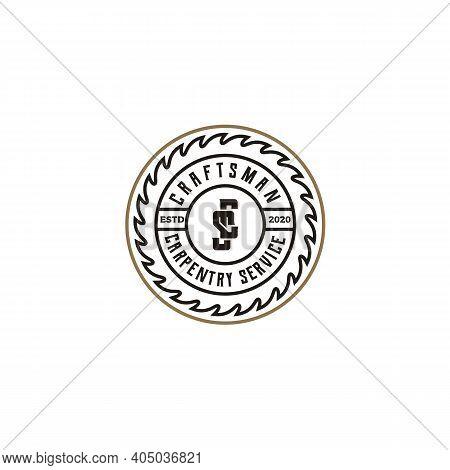 Vintage Retro Craftsman Carpentry Badge Label Logo Design