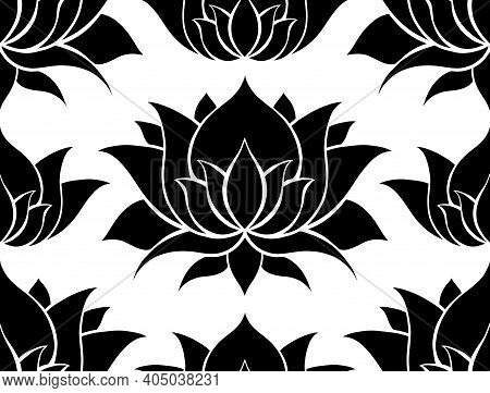 Black And White Seamless Pattern With Silhouettes Of Lotuses. Water Lilies On White Backdrop. Natura
