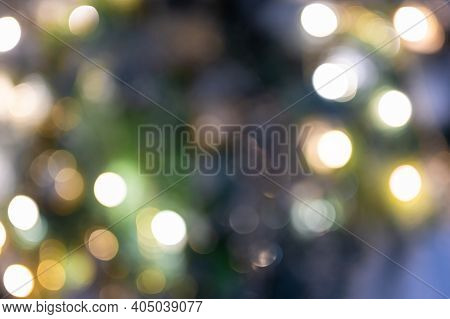 Bokeh Background. Abstract Blurry Background Bokeh, Mix Green, Blue, Gold Colors. Colorful Defocused