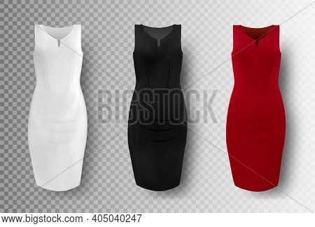 Black, White And Red Dress Mockup Set, Vector Isolated Illustration. Realistic Women Pencil Dresses.