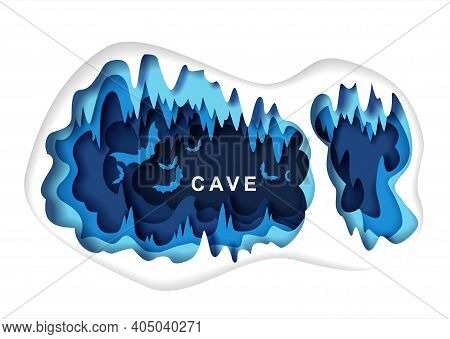 Paper Cut Craft Style Cave With Bat Silhouettes, Vector Illustration. Speleology Or Cave Science, Sp