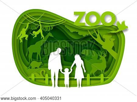 Happy Family Visiting Zoo Park, Vector Paper Cut Illustration. Zoo Animals.