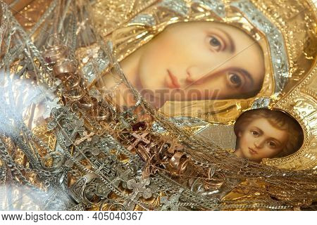 Moscow, Russia - September 26, 2018: Icon Of Mary The Mother Of God With Her Son Jesus In A Gold Fra