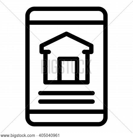 Rental App House Icon. Outline Rental App House Vector Icon For Web Design Isolated On White Backgro