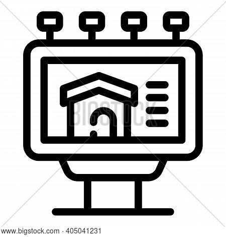 Real Estate Billboard Icon. Outline Real Estate Billboard Vector Icon For Web Design Isolated On Whi