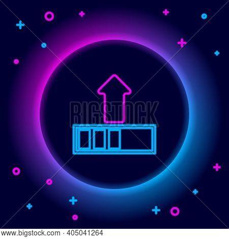 Glowing Neon Line Loading Icon Isolated On Black Background. Upload In Progress. Progress Bar Icon.
